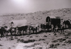 Women drivers guiarding their wagon on the Oregon Trail, a contemporary photograph / my americanodyssey.com