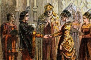 Imaginative re-construction of the marriage of Catherine and Own Tudor / womenshistory.about.com