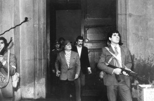 11 Seotember, 1973 Allende with guards and helmet, attacked in his palace / the guardian.com